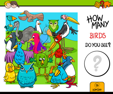 Cartoon Illustration of Educational Counting Activity Game for Children with Birds Animal Characters