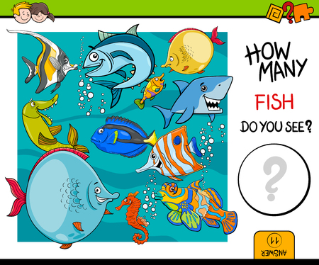 guess: Cartoon Illustration of Educational Counting Activity Game for Children with Fish Sea Life Animal Characters Illustration