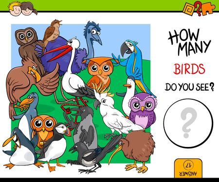 Cartoon Illustration of Educational Counting Activity Game for Children with Bird Characters Illustration