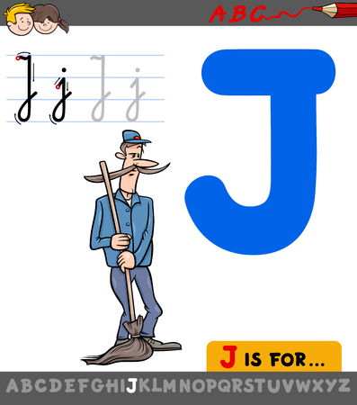 Educational Cartoon Illustration of Letter J from Alphabet with Janitor Character for Children