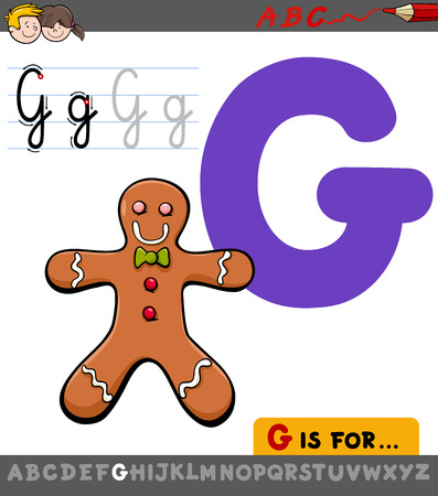 Educational Cartoon Illustration of Letter G from Alphabet with Gingerbread Man Sweet Food for Children