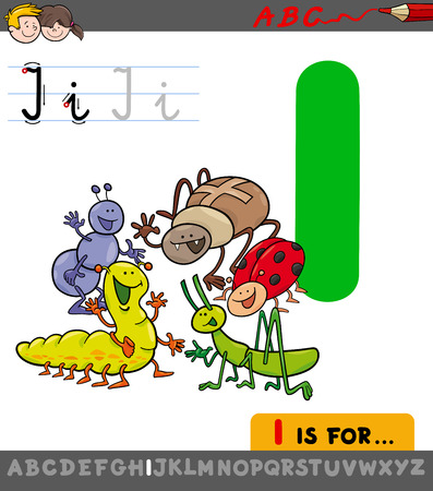 Educational Cartoon Illustration of Letter I from Alphabet with Insects Animal Characters for Children