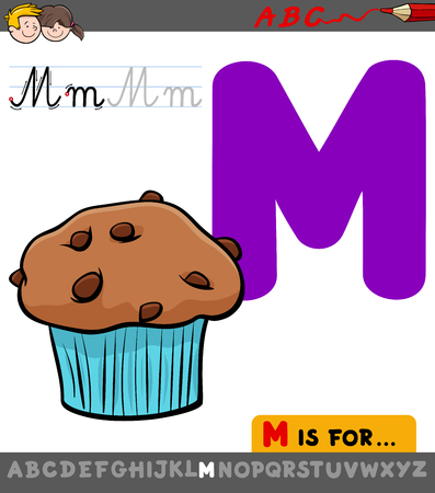 Educational Cartoon Illustration of Letter M from Alphabet with Muffin Sweet Food for Children