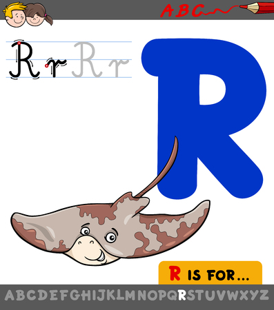 Educational Cartoon Illustration of Letter R from Alphabet with Ray Animal Character for Children