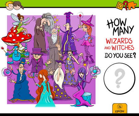 Cartoon Illustration of Educational Counting Activity Game for Children with Wizards and Witches Fantasy Characters