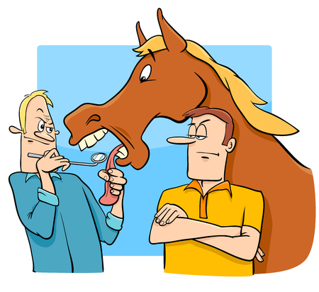 Cartoon Humorous Concept Illustration of Looking a Gift Horse in the Mouth Saying or Proverb Иллюстрация