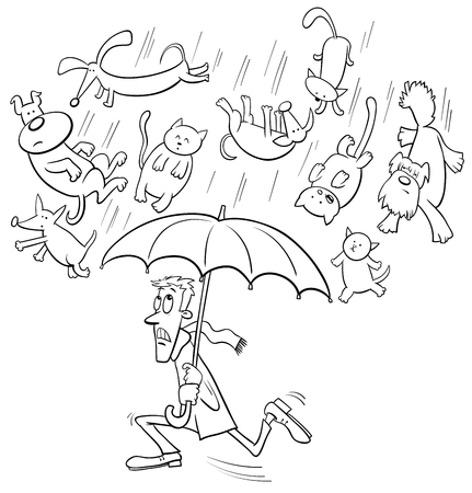 Black and White Cartoon Humorous Concept Illustration of Raining Cats and Dogs Saying or Proverb Illustration