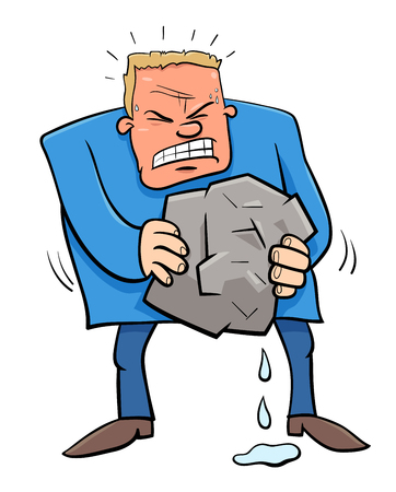 Cartoon Humorous Concept Illustration of Squeezing Water from Stone Saying or Proverb