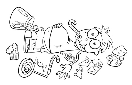 Black and White Cartoon Humorous Concept Illustration of Like a Kid in a Candy Store Saying or Proverb