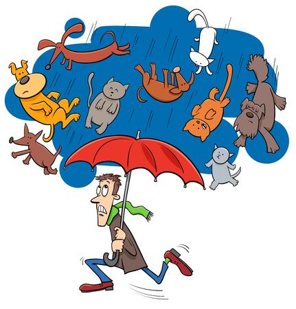 Ejemplo del concepto chistoso de la historieta de llover los gatos y los perros que dicen o proverbio