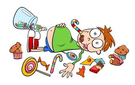 Cartoon Humorous Concept Illustration of Like a Kid in a Candy Store Saying or Proverb Banco de Imagens - 84150636