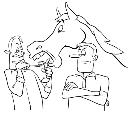 dissatisfied: Black and White Cartoon Humorous Concept Illustration of Looking a Gift Horse in the Mouth Saying or Proverb