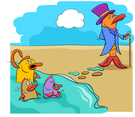 Cartoon Humorous Concept Illustration of Fish Out of Water Saying or Proverb Illustration