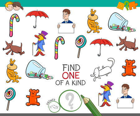 one of a kind: Cartoon Illustration of Find One of a Kind Educational Activity Game for Children with Funny Pictures Illustration