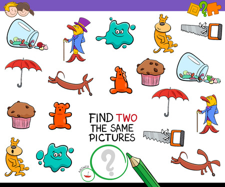 Cartoon Illustration of Finding Two The Same Pictures Educational Activity Game for Preschool Children