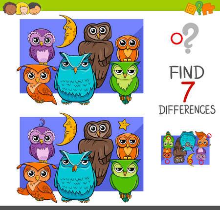 Cartoon Illustration of Find the Differences Educational Activity Game for Children with Owls Animal Characters Group Vettoriali