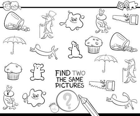 Black and White Cartoon Illustration of Finding Two The Same Pictures Educational Activity Game for Preschool Children Coloring Page