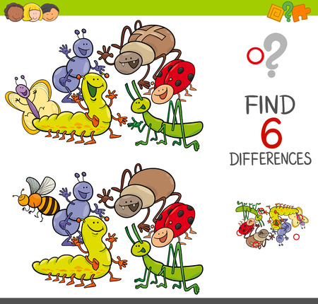 Cartoon Illustration of Spot the Differences Educational Activity Game for Children with Insects Animal Characters Group