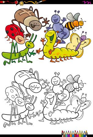 ladybird: Cartoon Illustration of Insects Animal Characters Group Coloring Book Activity Illustration