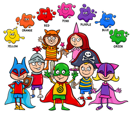 Cartoon Illustration of Primary Basic Colors Educational Activity for Children with Kid Characters at the Mask Ball Illustration