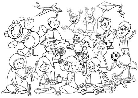 Ilustración De Dibujos Animados En Blanco Y Negro De Los Niños Grupo ...