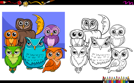 owl illustration: Cartoon Illustration of Owls Bird Characters Group Coloring Book Activity Illustration