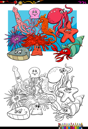 mollusc: Cartoon Illustration of Sea Life Animal Characters Group Coloring Book Activity Illustration