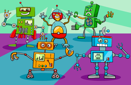 Cartoon Illustration of Funny Dancing Robots Science Fiction Characters Group Illustration