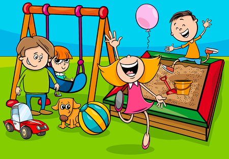 Cartoon Illustration of Children Characters Group on Playground