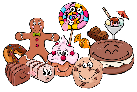 Cartoon Illustration of Sweet Food like Cakes and Cookies Characters