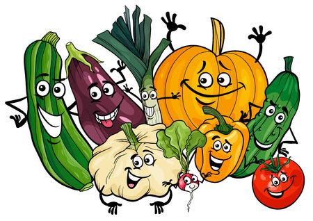 面白い野菜食品文字グループの漫画イラスト