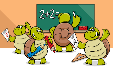Cartoon Illustration of Turtle Animal Characters at School Stock Vector - 85281441