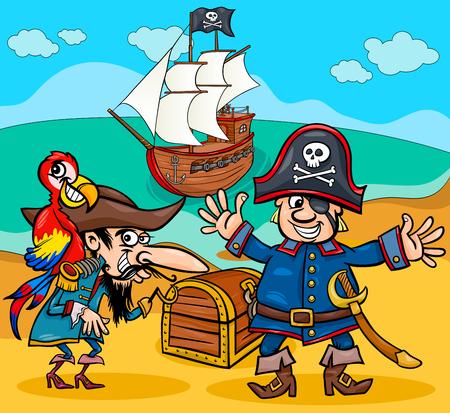 Cartoon illustrations of pirate characters Illustration