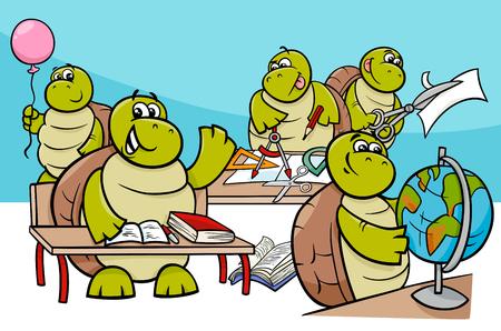 Cartoon illustration of turtles Ilustracja