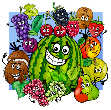 Cartoon Illustration of Witty Fruit Characters Group