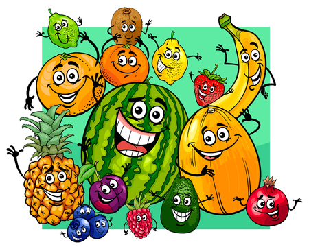Cartoon Illustration of Cute Fruit Characters Group