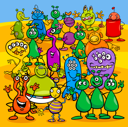 Cartoon Illustration of Aliens Fantasy Characters Group Illustration