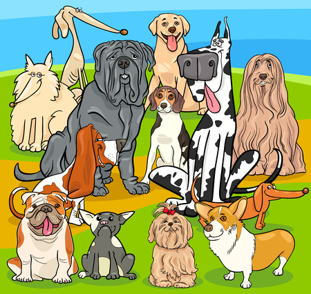 Cartoon Illustration of Purebred Dogs Animal Characters Group