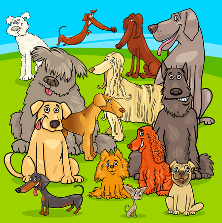 Cartoon Illustration of Purebred Dogs and Puppies Animal Characters Group Illustration