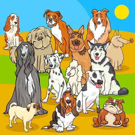 Cartoon Illustration of Pedigree Dogs Animal Characters Group Illustration
