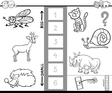 Black and White Cartoon Illustration of Educational Activity of Finding the Biggest and the Smallest Animal Coloring Book.