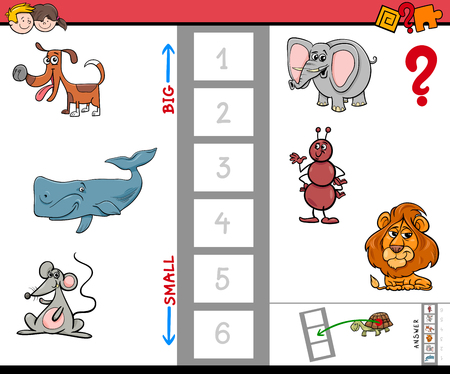 biggest animal: Cartoon Illustration of Educational Game of Finding the Biggest and the Smallest Animal.