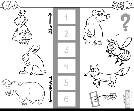 biggest animal: Black and White Cartoon Illustration of Educational Activity Game of Finding the Biggest and the Smallest Animal Coloring Book. Illustration