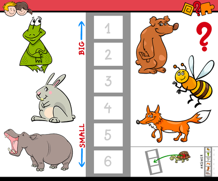Cartoon Illustration of Educational Activity Game of Finding the Biggest and the Smallest Animal. Illustration