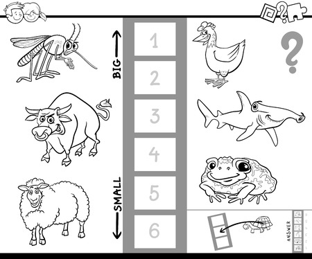 biggest animal: Black and White Cartoon Illustration of Educational Activity Game of Finding the Biggest and the Smallest Animal Species Coloring Book Illustration