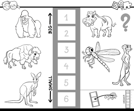 biggest animal: Black and White Cartoon Illustration of Educational Activity Game of Finding the Biggest and the Smallest Animal Character Coloring Book