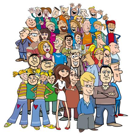 Cartoon Illustration of People Characters Large Group Illustration