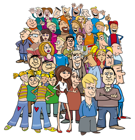 Cartoon Illustration of People Characters Large Group Иллюстрация