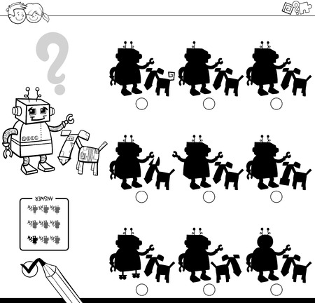 two: Black and White Cartoon Illustration of Finding the Shadow without Differences Educational Activity for Children with Two Robotic Characters Coloring Book