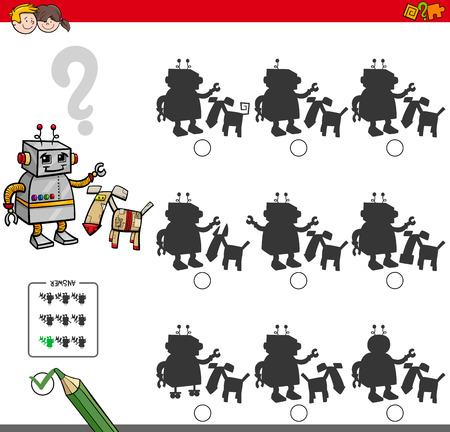 two: Cartoon Illustration of Finding the Shadow without Differences Educational Activity for Children with Two Robotic Characters Illustration